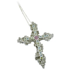 Christian Lacroix Jewelled Sterling Silver Cross Pendant Brooch
