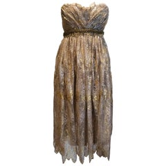 Dolce & Gabbana Golden French Lace Empire Dress