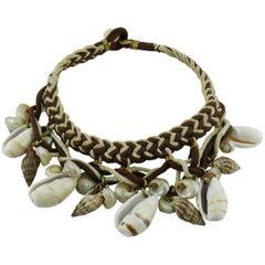 Yves Saint Laurent YSL Vintage Rare African Tribal Shell Choker Necklace