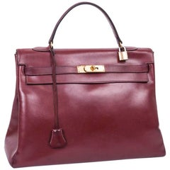HERMES Kelly 35 '24 Faubourg'  in Red Box H Leather