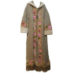 Christian Dior Long Knitted Coat Navajo Embroidered Leather