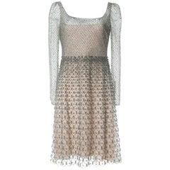 Valentino Women's Beige Beaded Sheer Accented Dress