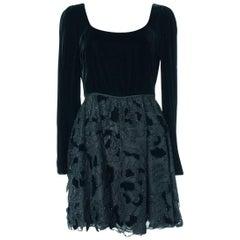 Valentino Women's Black Velvet Mini Dress