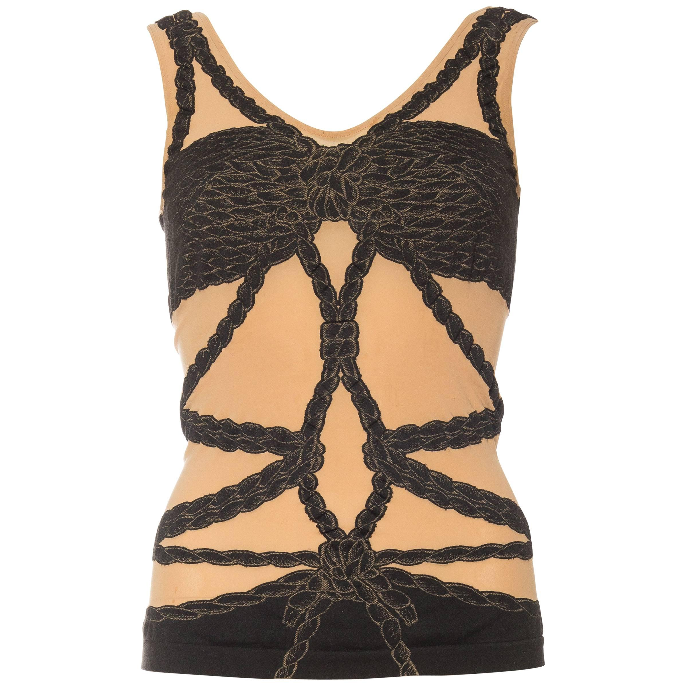 1990S ZAC POSEN Spandex Knit Rope Bondage Top By Wolford