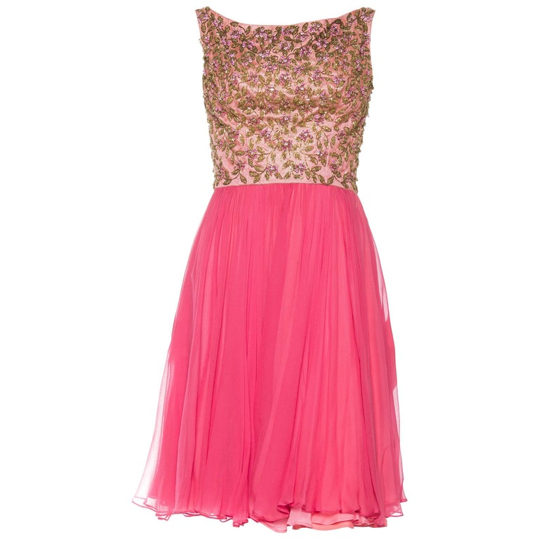 Sweet and Flirty Early 1960s Beaded Chiffon Dress