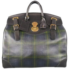 RALPH LAUREN Black Navy & Green Tartan Plaid Leather Cooper Bag