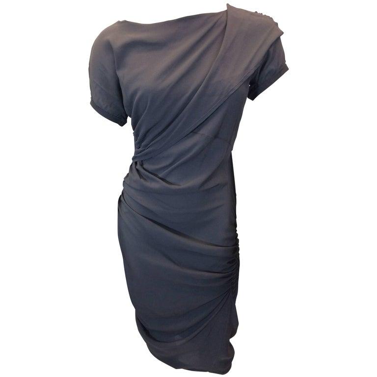 Balenciaga Grey Asymmetrical Ruched Sheath Dress