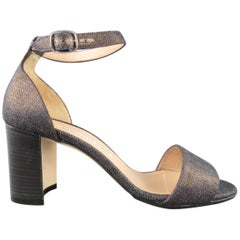 MANOLO BLAHNIK Size 6.5 Matcallic Coated Navy Denim Ankle Strap Sandals