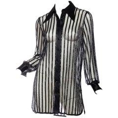 "Bob Mackie Sheer Beaded ""Boyfriend"" Shirt Dress"