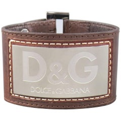 Dolce & Gabbana D&G Brown Leather Silver Logo Cuff Bracelet