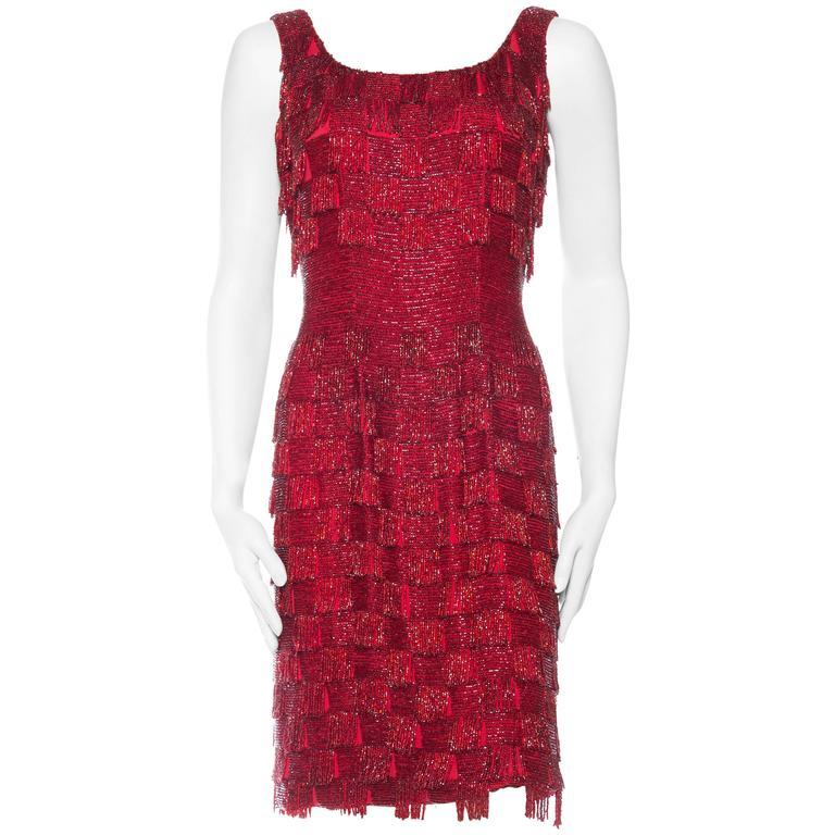 Red Beaded Fringe Dress