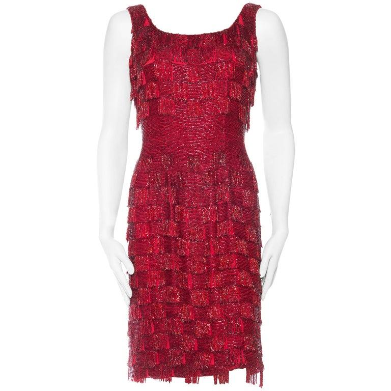 1950s Solid Beaded Fringe Dress