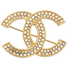 Chanel Vintage Gold Double Tour Rhinestone CC Charm Evening Pin Brooch