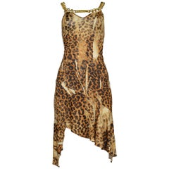 Iconic Dior By Galliano Gold Chain & ID Logo Necklace Leopard Dress Runway 2000