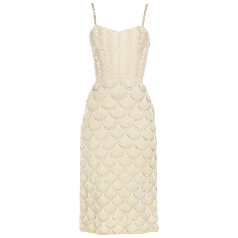 1950s Fontana Couture Beaded White Dress 1