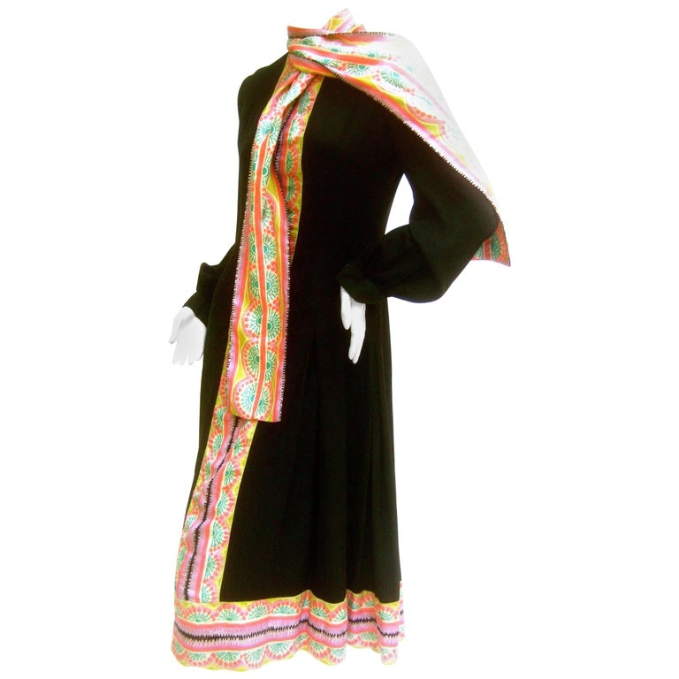 Chester Weinberg Innovative Black Silk Pastel Trim Dress c 1970