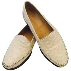 Men's M.C. Mario Campatelli  Outstanding Ostrich Loafers in Ivory, Sz 10 1/2