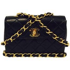 Chanel Vintage Black Mini Flap Bag W Burgundy Interior Series 1 Excellent