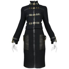 Iconic Gianni Versace Black Bondage Suit w Medusa Buttons & Leather Trim 1992