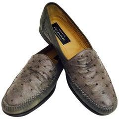 Men's Awsome  Avventura Genuine Ostrich Taupe Loafers Size 10 1/2
