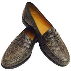 Men's M.C. Mario Campatelli Genuine Crocodile Loafers, Light Brown, sz 10 1/2