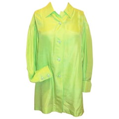 Chanel vintage lime green silk blouse top tunic