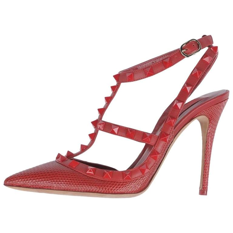 002e9357b5fd Valentino New Sold Out Red Crocodile Print Leather Rockstud Heels Pumps in  Box For Sale