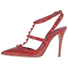 Valentino New Sold Out Red Crocodile Print Leather Rockstud Heels Pumps in Box