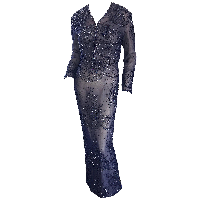 Gorgeous Vintage Judith Ann Navy Blue + Nude Silk Chiffon Beaded Dress + Jacket