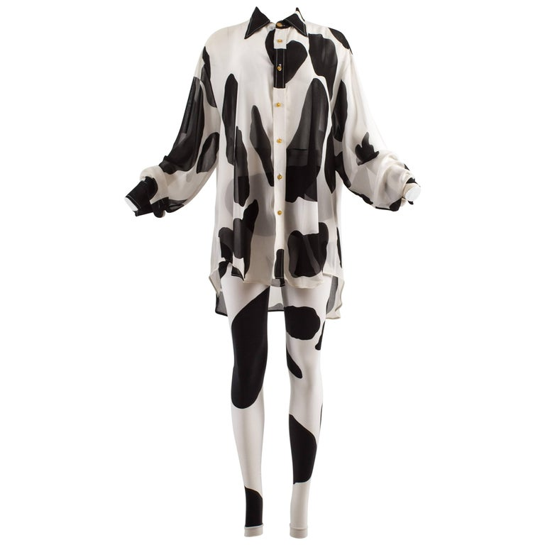 Vivienne Westwood Spring-Summer 1990 'Pagan V' cow print chiffon pant suit