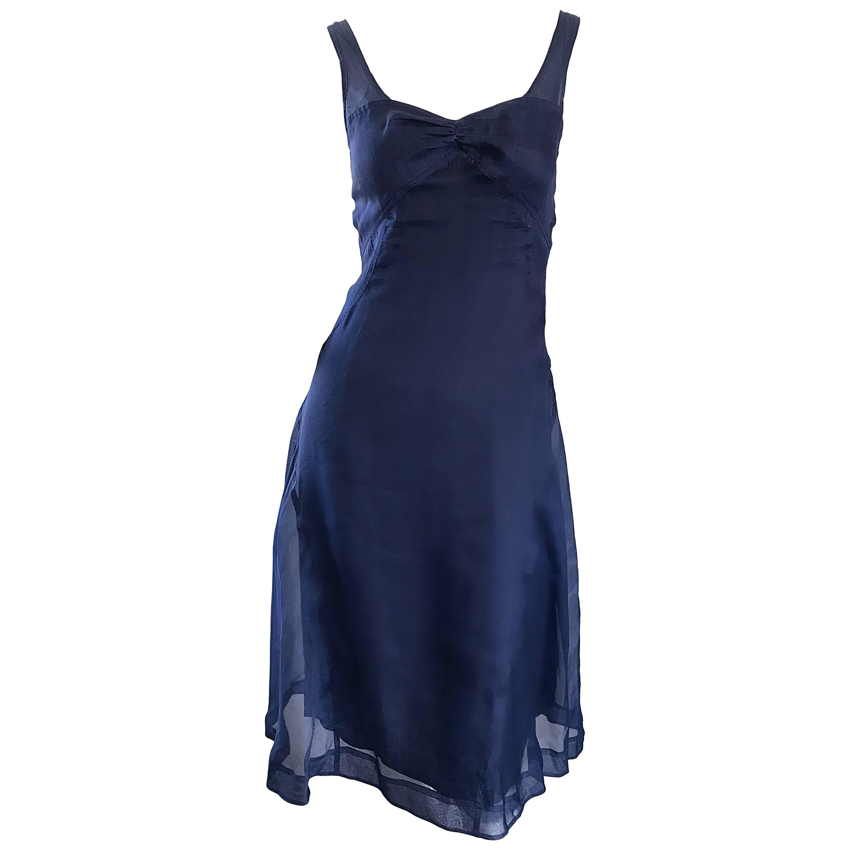 1990s Celine Navy Blue Silk Chiffon Sleeveless Overlay Sweetheart Vintage Dress