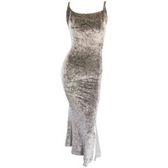 1990s Janine of London Lillie Rubin Silver Grey Metallic Crushed Velvet Dress