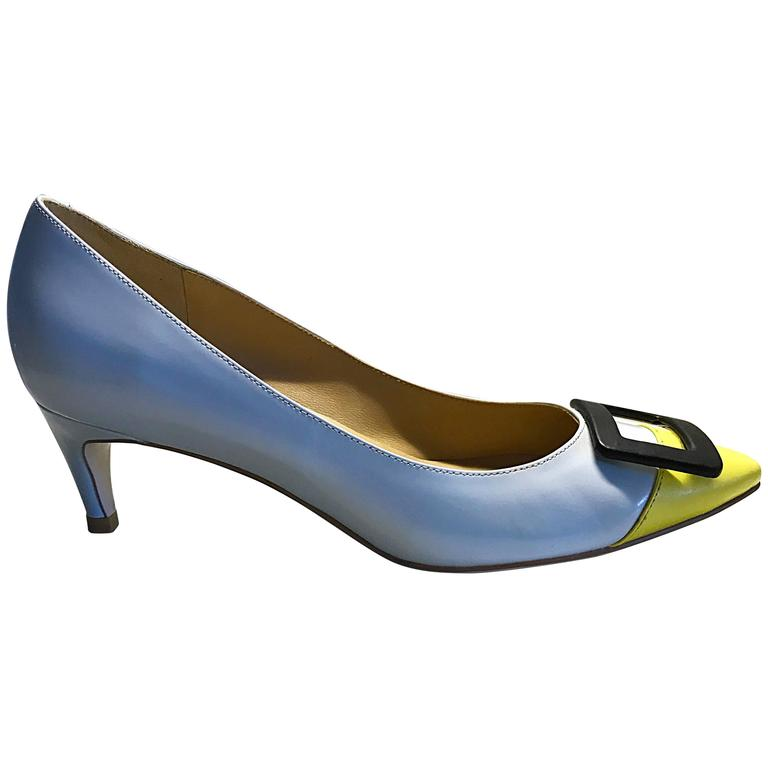 4df3319ac305 Roger Vivier Size 37   7 Pale Blue and Yellow Low Heel Buckle Shoes   Pumps