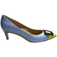 Roger Vivier Size 37 / 7 Pale Blue and Yellow Low Heel Buckle Shoes / Pumps