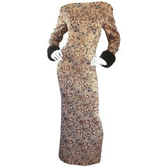 Bill Blass Demi Couture Gold Bronze Brown Faux Fur Vintage Gown, 1960s