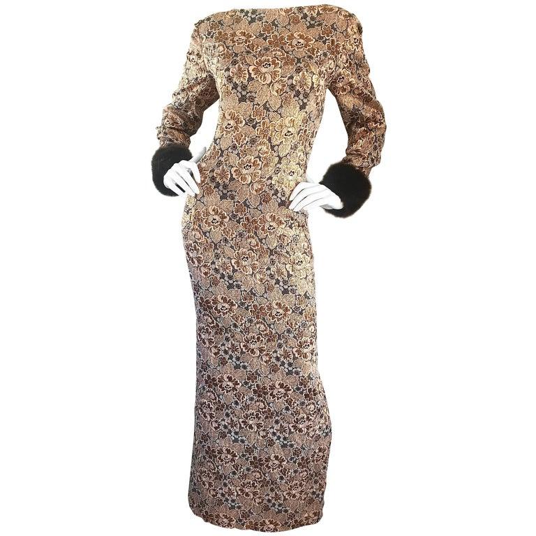 Bill Blass Demi Couture Gold Bronze Brown Faux Fur Vintage Gown, 1960s