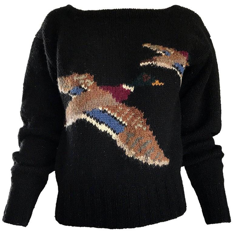 Rare Vintage Ralph Lauren Blue Label Intarsia Novelty Duck Print Wool Sweater