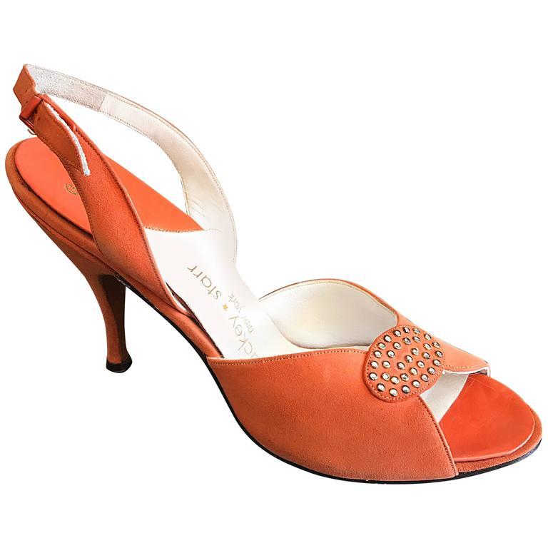 beb92684074b New 1950s Mackey Starr Size 6N Sorbet Orange Leather Rhinestone Slingback  Heels For Sale at 1stdibs