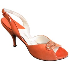 New 1950s Mackey Starr Size 6N Sorbet Orange Leather Rhinestone Slingback Heels