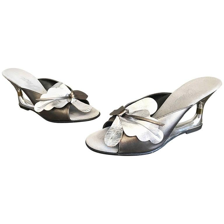 f5a90cc2c9cd4 Rare 1950s Silver Metallic Avant Garde Size 6 Wedge Springolators Vintage  Heels