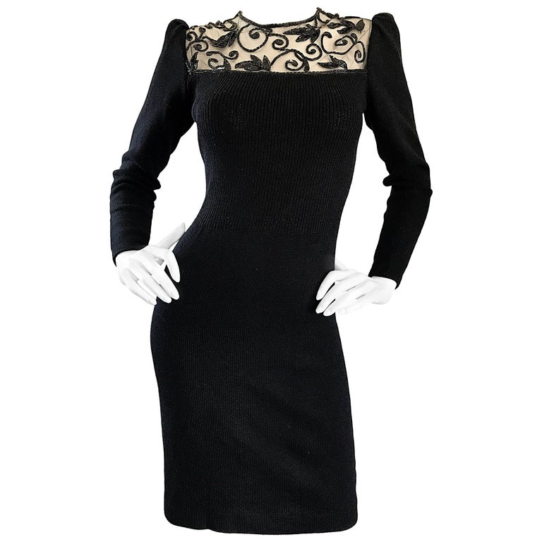Vintage St John by Marie Gray Black Santana Knit Sequin Cut-Out Back 1990s Dress For Sale