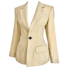 1980s Jean Paul Gaultier Creme Linen Fitted Blazer Jacket