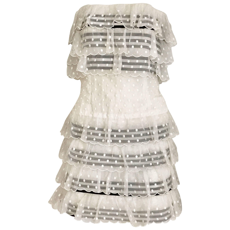 1980s CHANEL White and Black Ribbon Cotton Swissdot Strapless Cocktail Mini dres