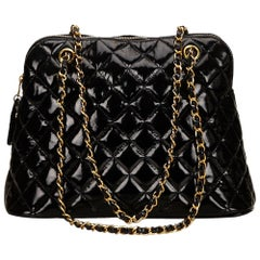Chanel Matelasse Black Quilted Patent Leather Gold Chain Shoulder Bag