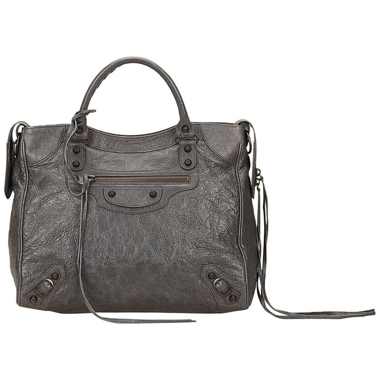 93e0b98b13d6 Balenciaga Grey Leather Classic Motocross City Handbag For Sale at ...