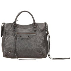 Balenciaga Grey Leather Classic Motocross City Handbag