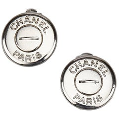 """Chanel Round Silver Toned """"Chanel Paris"""" Clip On Earrings"""