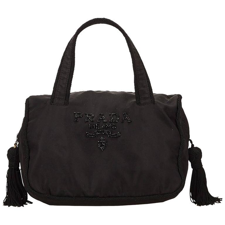 62a97b97d9257d Prada Black Beaded Nylon Handbag with Tassels For Sale at 1stdibs
