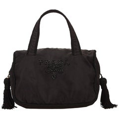 Prada Black Beaded Nylon Handbag with Tassels