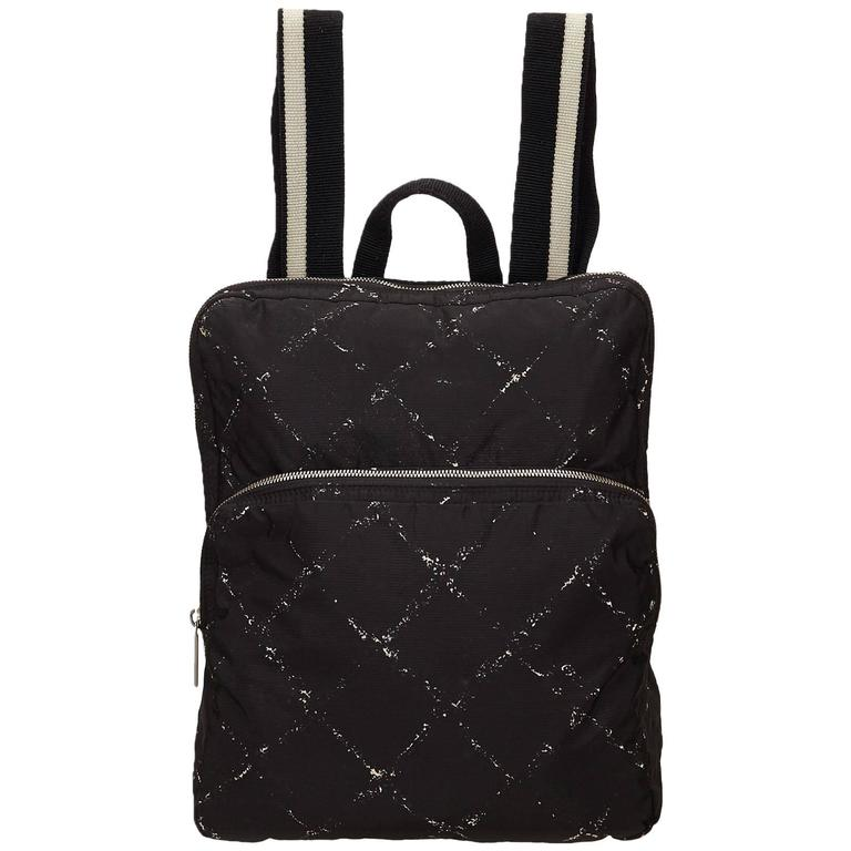 Chanel Black and White Quilted Printed Travel Line Backpack For Sale